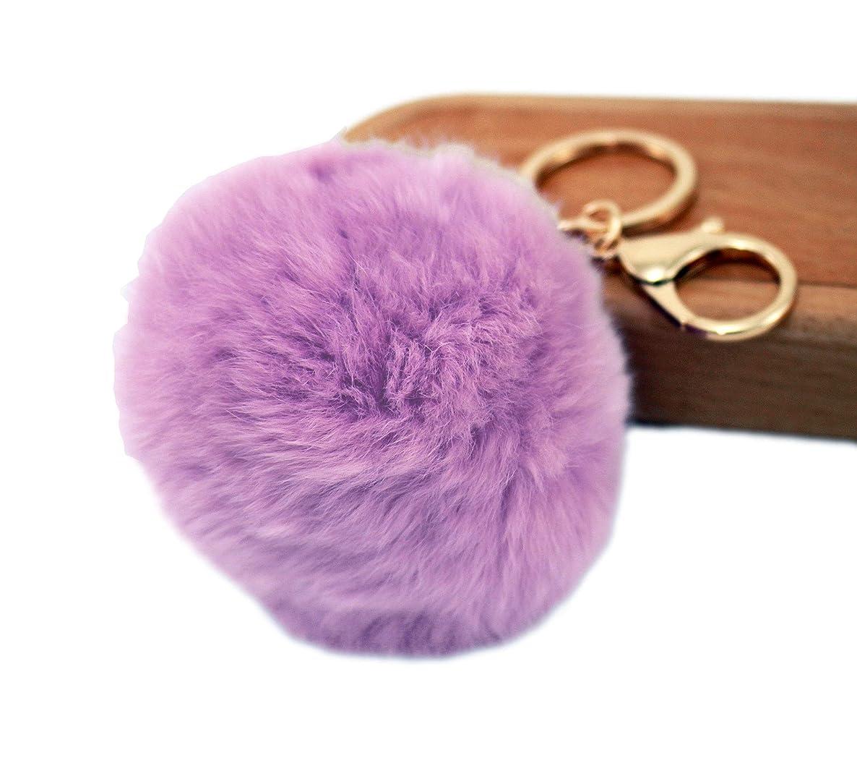Pom Pom Keychain – Purple Faux Fur Charm Keychain zhuozpnrupbpr0