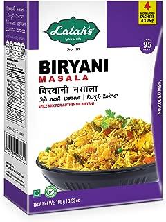 Lalah's Biryani Masala Powder, Biryani Spice Mix, Gluten Free, No Trans Fat, No Preservatives or Colors Added, No MSG - (4 x 25g aroma locked sachets), 100 grams (3.5 oz)
