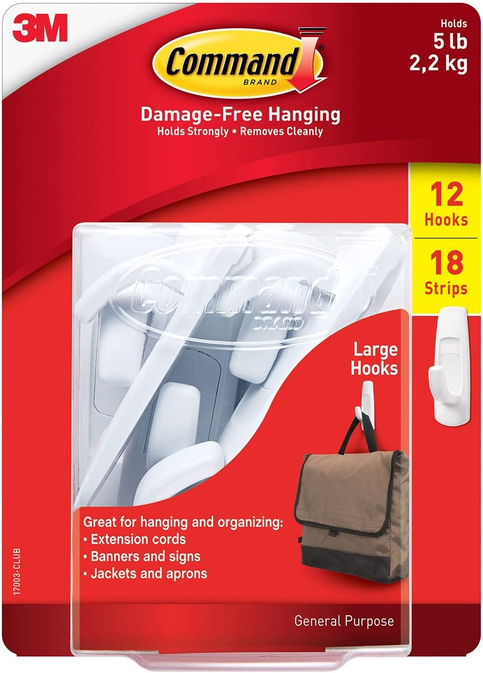 Popular brand Max 78% OFF Command 12 Large Hooks Utility