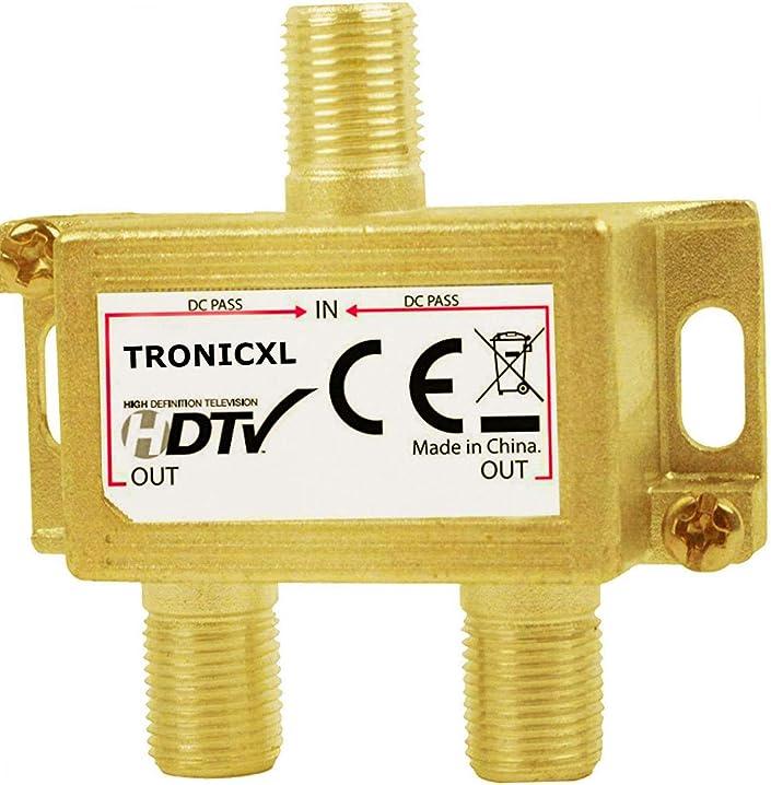 Distributore per antenna tv/tv satellitare dvb-t2 dvbc a 2 prese presa a f tronicxl