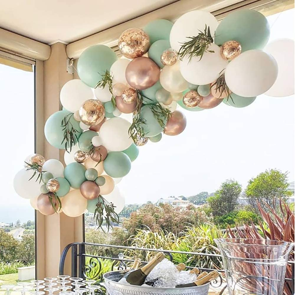 Sage Green Balloon Garland Arch Kit – 119 Pack With White Ivory Gold Metallic Confetti Latex Balloons ,18 inch Big Sage Green Balloon for Wedding Baby Shower Birthday Evening Decorations