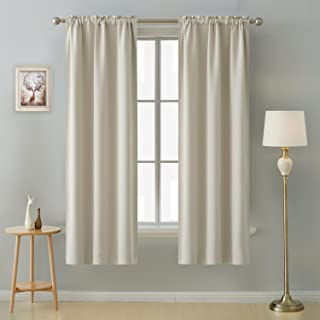 Deconovo Rod Pocket Light Window Panels Room Darkening Thermal Insulated Blackout Curtains for Nursery Room 38 Inch by 72 Inch Light Beige 2 Curtain Panels