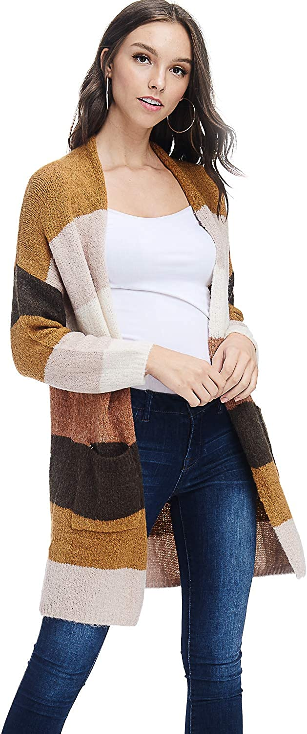 Alexander + David A+D Sweaters for Women  Pretty Multi colors, Long Cardigan, Open Front Side Pockets