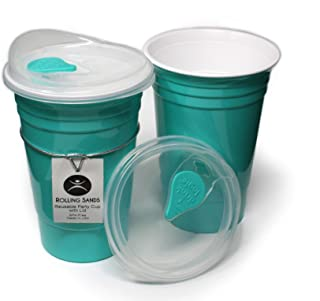 Rolling Sands Reusable BPA-Free 16 Ounce Aqua Party Cups with Lids - 2 Pack, Made in USA