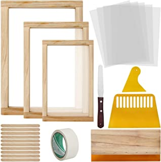 Colovis 23 Pcs Screen Printing Starter Kit, Include 3 Sizes Wood Silk Screen Printing Frame, Screen Printing Squeegees, Tr...