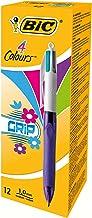 Bic 4 Colours Grip Fashion Vi - Bolígrafo, cuatro colores con grip, colores pastel, 1.0 mm (caja de 12 unidades)
