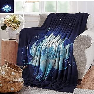 Xaviera Doherty Weighted Blanket Floral,Zen Lotus with Dew Drops Indoor/Outdoor, Comfortable for All Seasons 70