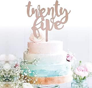 GrantParty Twenty-Five Rose Gold Cake Topper  25th Birthday Anniversary Wedding Party Decoration Ideas  Perfect Keepsake (25 Rose Gold)