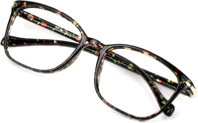 Blue Light Blocking Glasses for Women, Anti Eyestrain, Computer Reading, TV Glasses, Stylish Square Frame, Anti Glare(Floral,No Magnification)