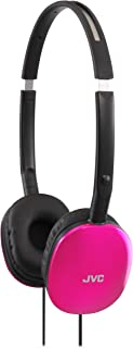 JVC Pink Flat and Foldable Colorful Flats On Ear Headphone with 3.94 foot Gold Plated Phone Slim Plug HAS160P