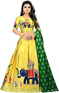 44115767f6 Dharmi Fashion Women's Satin Semi-Stitched Lehenga Choli in Digital  Print(Free Size,