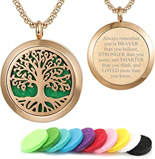 GFONDINGD Aromatherapy Essential Oil Diffuser Necklace 316L Stainless Steel Locket Pendant with 24 Inch Chain