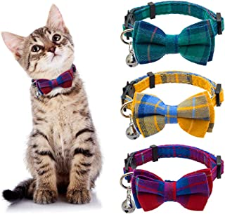 EXPAWLORER Breakaway Cat Collar with Bell and Removable Bowtie - 3 Pcs Cute Plaid Adjustable Safety Collars for Kitty, Pup...