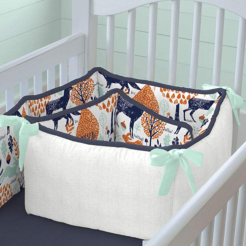 Carousel Designs Navy And Orange Woodland Crib Bumper