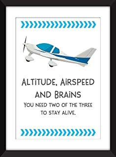 Altitude, Airspeed and Brains - Unframed Aviation Print/Sin Marco