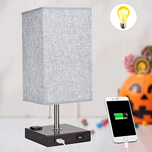 wholesale Dual USB Bedside Table Lamp, Depuley Minimalist LED Table Lamp, Grey Nightstand Desk Lamp with Square Fabric Shade for Bedroom, online Living Room, Study, 2021 Office (E26 Bulb Included) sale