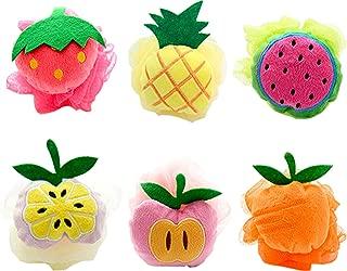 Bath Shower Sponge Pouf Loofahs 6 Packs, Mesh Brush Animal Shower Ball for Kids Random Pattern