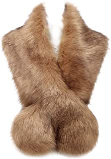 Changuan Extra Large Women's Faux Fur Collar Warmer Scarf Wrap for Winter Coat
