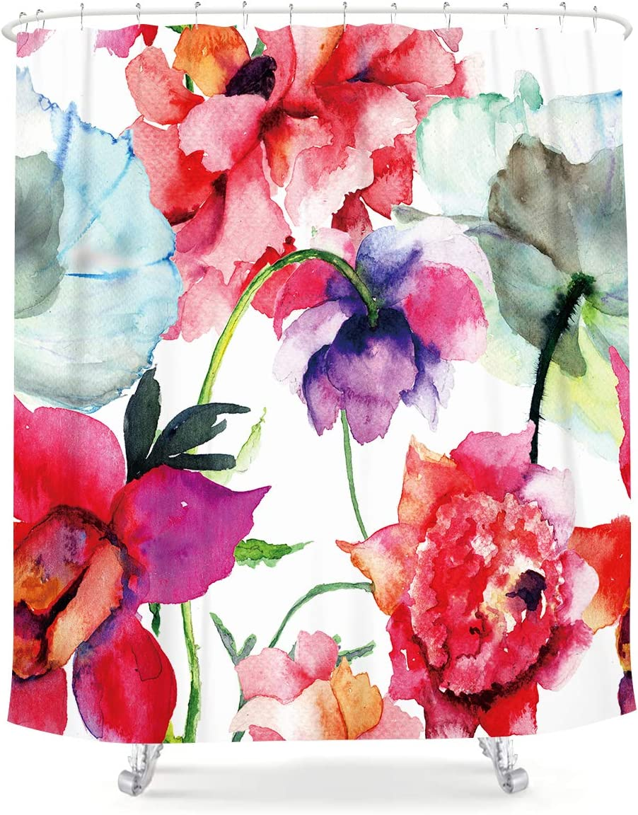 LIGHTINHOME Max 47% OFF Watercolor Floral Shower Peo Curtain Indefinitely Colorful Flower