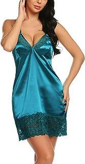 Avidlove Women Satin Lingerie Babydoll Nighties Lace Chemises Sexy Nightgown