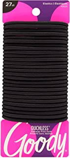 Goody Ouchless Women's Hair Braided Elastic Thick Tie, Black, 27 Count (Pack of 1), 4MM for Medium Hair