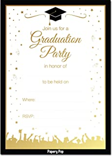 2019 Graduation Party Invitations with Envelopes (30 Pack) - Grad Celebration Announcement Cards for High School or College