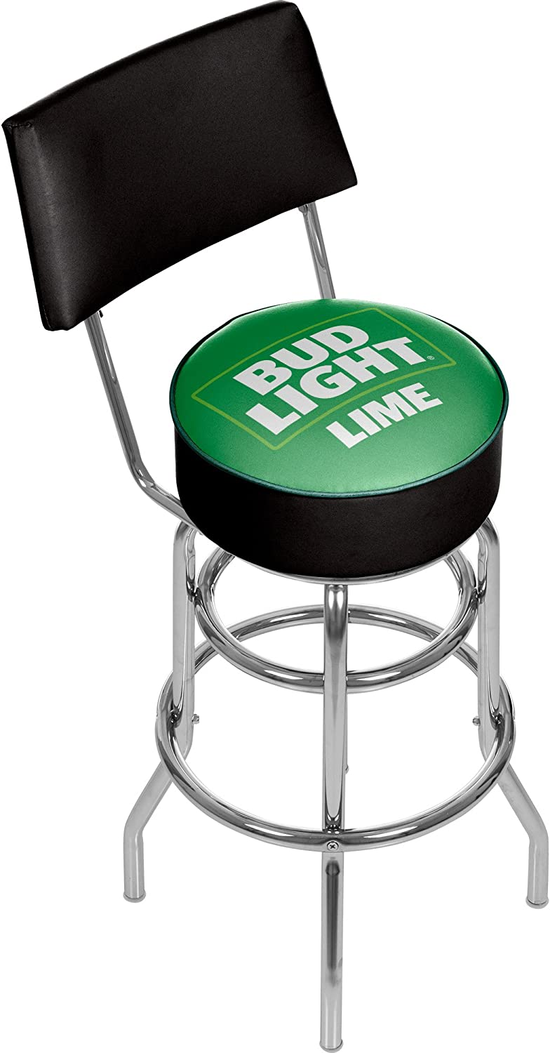 Bud Light Swivel Bar Stool with Back Lime Padded nuecvc8415