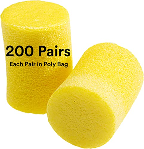3M Ear Plugs, 200 Pairs/Box, E-A-R Classic 312-1201, Uncorded, Disposable, Foam, NRR 29, For Drilling, Grinding, Mach...