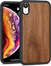JUBECO for iPhone XR Wood Case, Wooden Slim Anti-Shock Cover for iPhone xr 6.1 (Walnut)