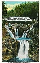 Elizabethtown, New York - View of Split Rock Falls and Bridge 16702 (16x24 SIGNED Print Master Art Print - Wall Decor Poster)