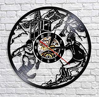 Fangmingleiice Skating Vinyl Record Wall Clock Snowboard Winter Sports Room Decoration Wall Art Lovers Gift 30X30Cm