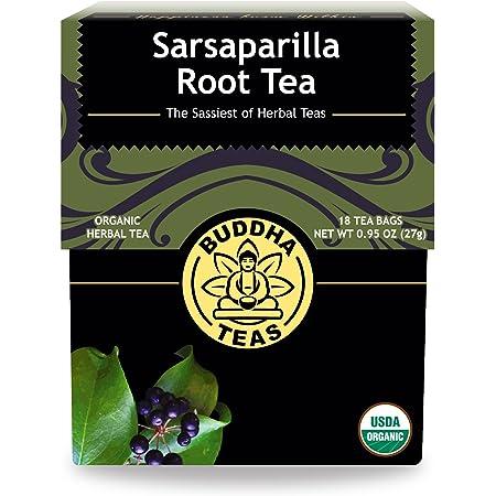 Buddha Teas Organic Sarsaparilla Root Tea, 18 Bleach Tea Bags – Caffeine Free, Supports Healthy Liver Function, No GMOs