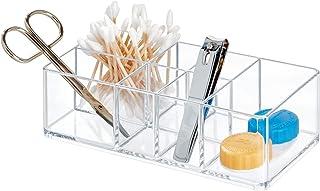 iDesign Caja botiquín para el baño o el armario pequeña caja para medicinas de plástico con 7 compartimentos organizador...