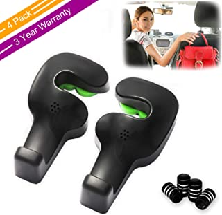 Phovana Car Purse Hook for Car Headrest Hook, Headrest Hooks for Car Hooks Headrest Hangers, Purse Hook for Car Hooks-Hanger Purse or Grocery Bags for Automotive Front Back Seat Headrest,4 Pack(Black)