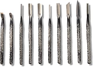 KAKURI Wood Carving Tool Set for Professional 10 Pcs, Hand Forged Japanese Aogami Blue Steel #2 Woodcut Tool Knife, Made i...