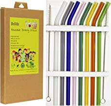 """Reusable Glass Straws Set, Multiple Colored Borosilicate Glass Healthy Eco Friendly Drinking Straws, 8.5""""x8mm, Pack of 8 w..."""
