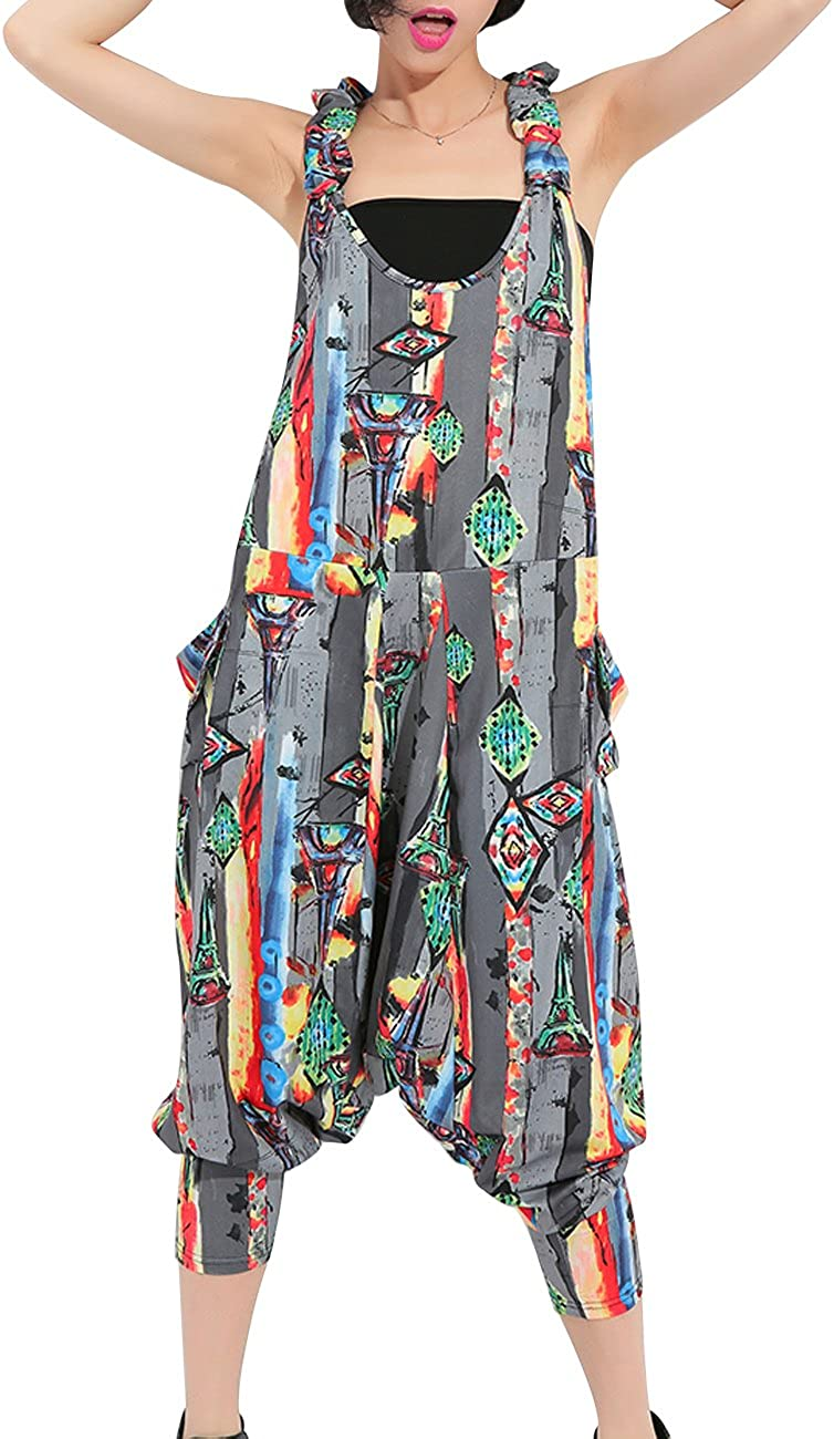 1980s Clothing, Fashion | 80s Style Clothes ellazhu 90s Women Juniors Sleeveless Backless Harem Rompers Jumpers Overalls Jumpsuits Clown Pants Clothing GY615  AT vintagedancer.com