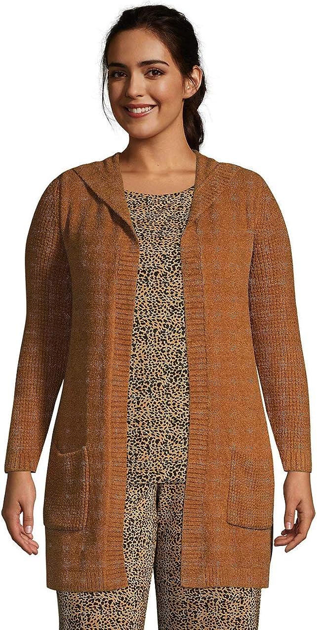 Lands' End Women's Lounge Hooded Open Cardigan Sweater