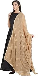 Woman's Gold Embroidered Chiffon Dupatta