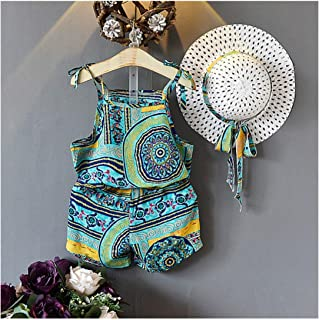 MUSTY Y - Conjunto de Pantalones Cortos de Verano para niñas con diseño Floral Bohemio y Sombrero (3 Unidades)