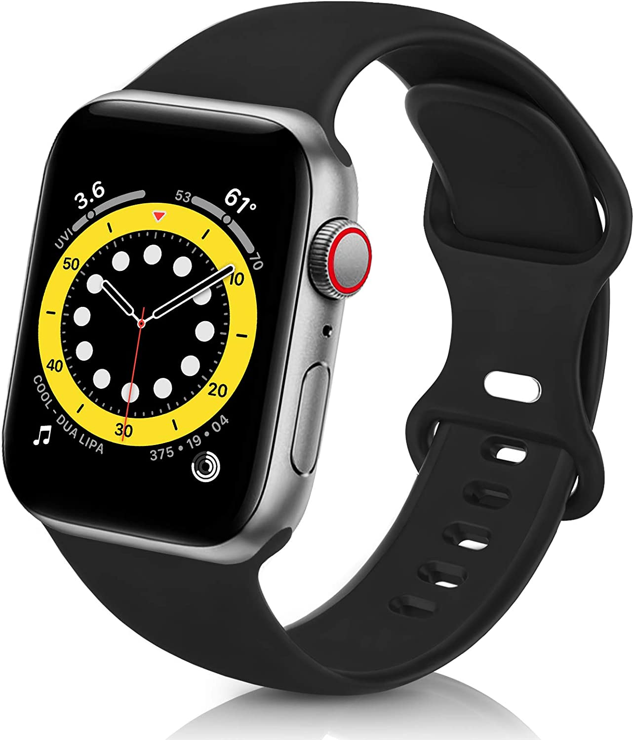 ZALAVER Bands Compatible with Apple Watch Band 38mm 40mm 41mm 42mm 44mm 45mm, Soft Silicone Sport Replacement Band Compatible with iWatch Series 7 6 5 4 3 2 1 Women Men Black 38mm/40mm S/M