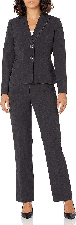 Le Suit Women's Triple Pinstripe 2 Button Peak Lapel Pant Suit