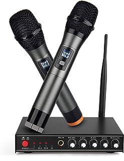 سیستم میکروفون بی سیم UHF، میکروفن دستی Furns دوگانه پویا بی سیم با گیرنده Multiport، پشتیبانی از سیگنال بی سیم بلند، ایده آل برای کارائوکه، آواز، DJ، Churching، ارائه