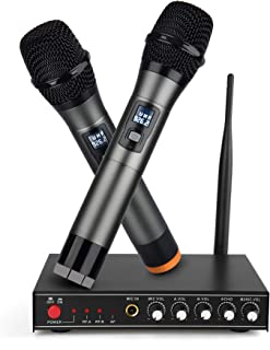 UHF Wireless Microphone System,Frunsi Dual Dynamic Cordless Handheld Microphones with Multiport Receiver, Supports Long Range Wireless Signal, for Home Karaoke, Singing, DJ, Churching, Presentation