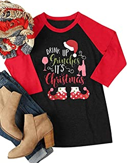 UNIQUEONE Drink Up Grinches It's Christmas T-Shirt Women Raglan 3/4 Sleeve O-Neck Xmas Baseball Tops Tee