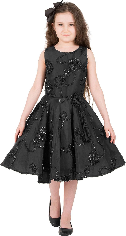 Kids 1950s Clothing & Costumes: Girls, Boys, Toddlers BlackButterfly Kids Audrey Vintage Satin Floral 50s Dress  AT vintagedancer.com