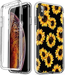 LYWHL iPhone Xs Max Case Flower Design Hybrid Defender Military Grade Impact Shockproof Full-Body Protective Clear Bumper Cover Cute Case with Build in Screen Protector for iPhone Xs Max (Sunflower)
