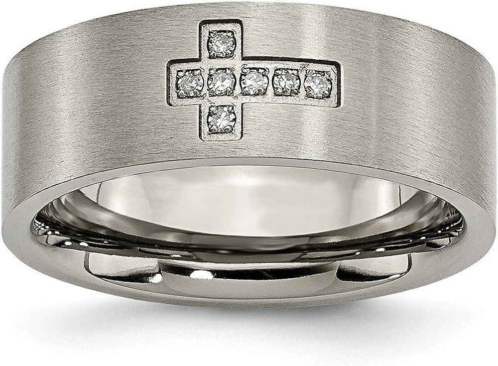 Solid Titanium Men's Brushed 0.07ct. tw. Diamond Cross Flat Ring Band