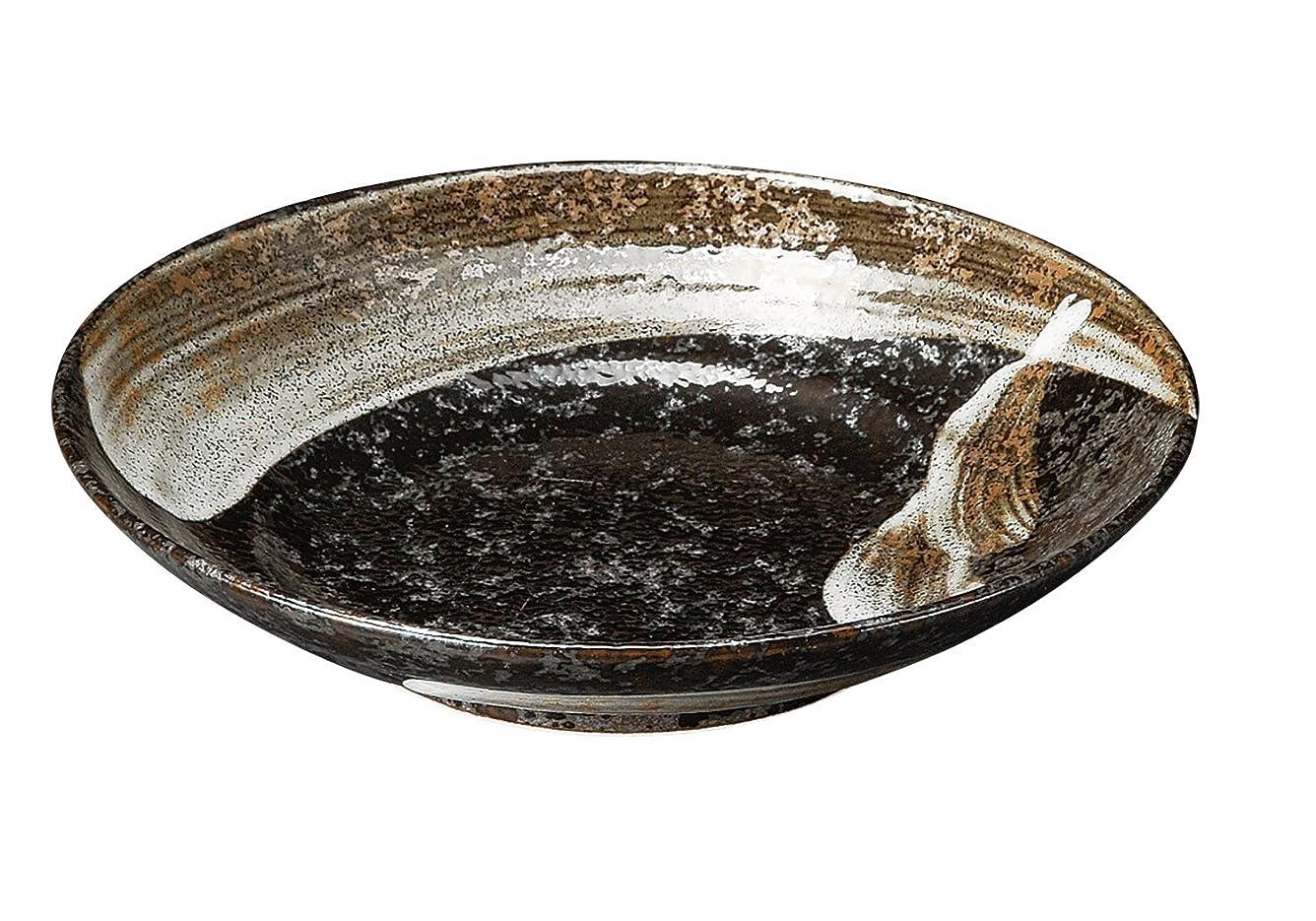 秘密のカリング険しい宗峰窯 陶器 皿 明世荒刷毛 7.5 麺皿 23×5cm 400-20-433