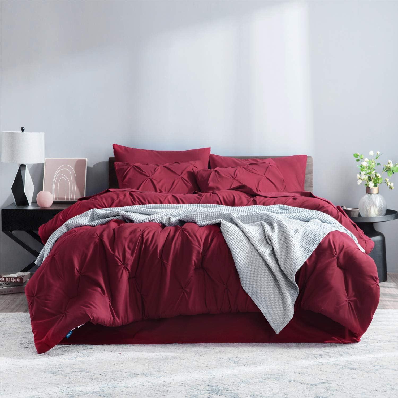 Bedsure Comforter for Queen Bed Queen Comforter Set Bed in A Bag Dark Red 8 Pieces
